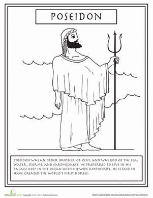 greek mythology coloring pages pdf greek gods poseidon worksheet education com