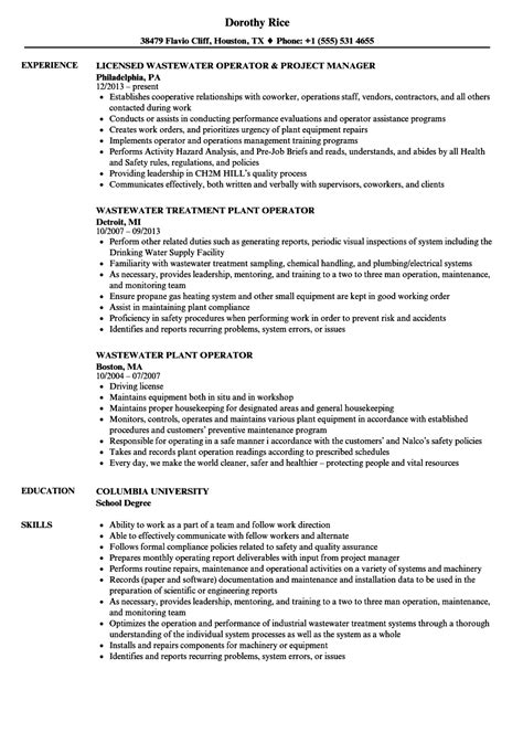 water treatment plant operator resume resume ideas