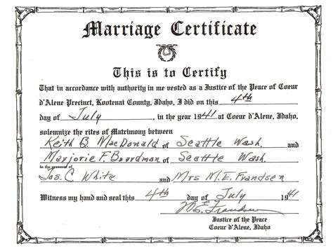 Marriage License Records Idaho Keith B Macdonald The Boardmans And Browns Of Winnipeg