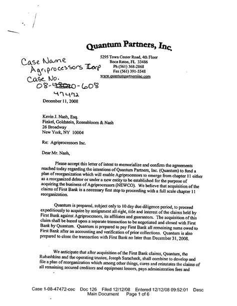 Letter Of Intent Quantum Meruit Exclusive Rubashkin Finds Quot Investor Quot Failedmessiah