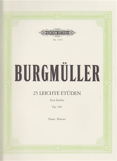 Buku Piano Burgmuller Op 100 edition peters burgmuller 25 etudes faciles op 100