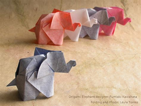 Make Paper Elephant - origami instructuons how to color skin paper for