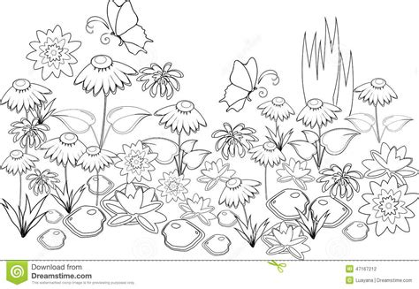 coloring pages field of flowers coloring page stock vector image of background blossom
