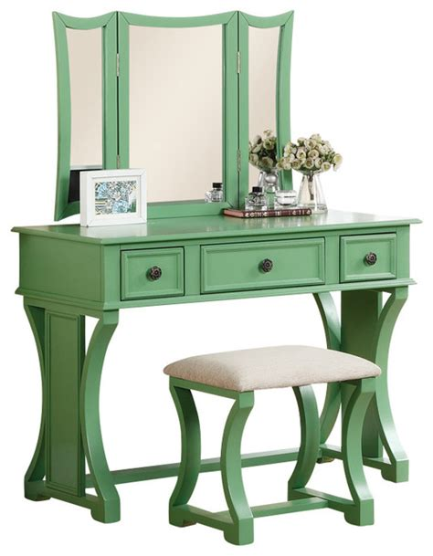 Curved Design 3 Panel Mirror Vanity With Stool Drawer | curved design 3 panel mirror vanity with stool drawer