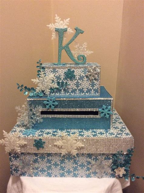 sweet 16 winter decorations winter snowflake card box for weddings sweet