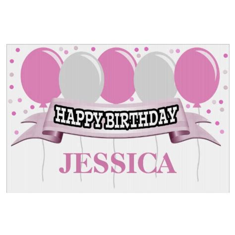 pink silver name personalized happy birthday sign zazzle