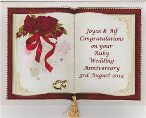 Handmade Ruby Wedding Cards - anniversary ruby wedding anniversary handmade cards