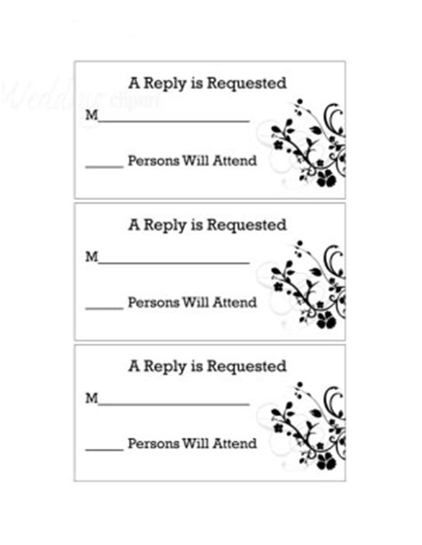 free jpeg response card template printable black and white floral rsvp cards new