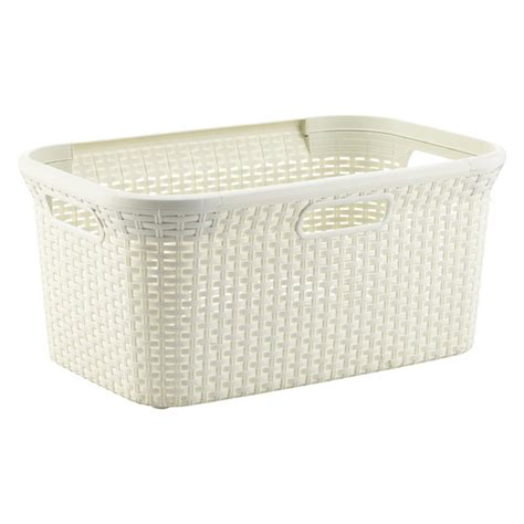 Ivory Rectangular Basketweave Basket The Container Store Container Store Laundry