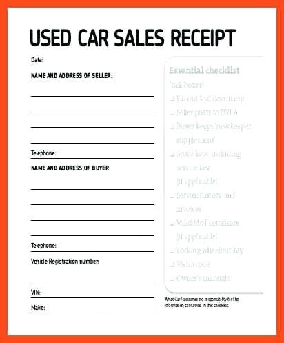 car sale receipt template free sales agreement template for car used car invoice template