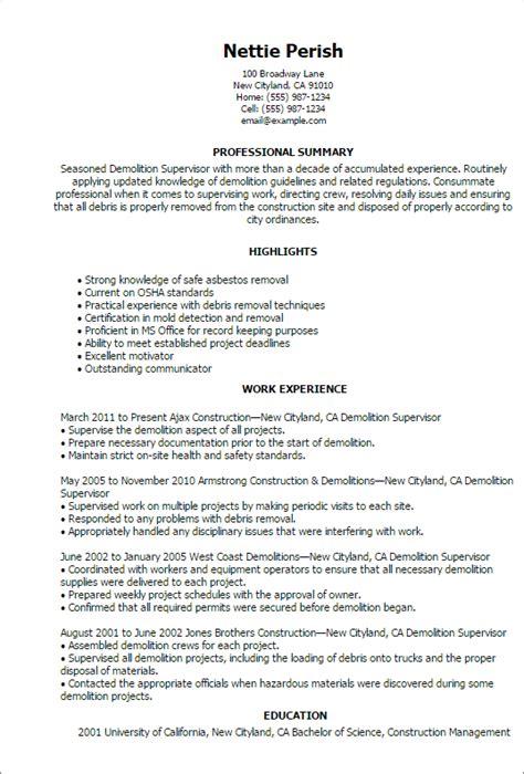 Demolition Supervisor Sle Resume by Demolition Resume Sle Resume Ideas