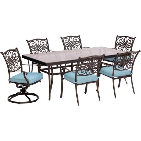 Hanover Traditions 7 Piece Aluminum Outdoor Dining Set 7 Patio Dining Set With Swivel Chairs