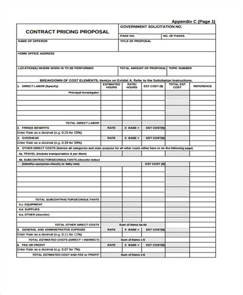9 Contract Proposal Templates Free Sle Exle Format Download Free Premium Templates Pricing Contract Template