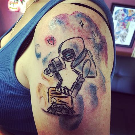 eve tattoo wall e and watercolor disney tattoos