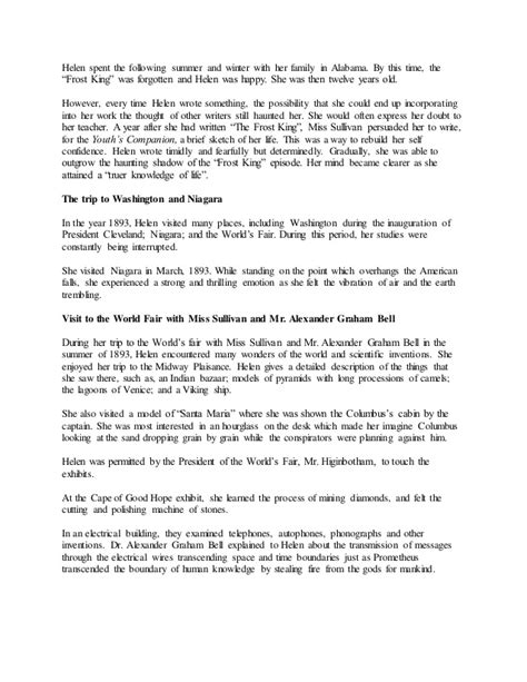 biography of helen keller in summary the story of my life by helen keller summary