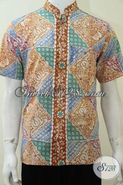 Hem Kerah Koko Batik Katun hem batik kerah shanghai dengan motif modern baju batik