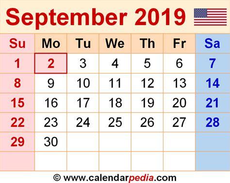 Calendar 2019 Pdf September 2019 Calendars For Word Excel Pdf