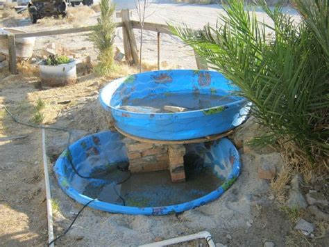 Building An Above Ground Pond Stacked Kiddie Pools Make How To Build A Pool In Your Backyard
