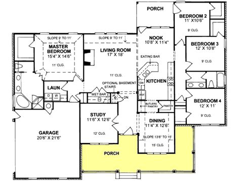 4 bedroom ranch style house plans ranch style house plans 2191 square foot home 1 story