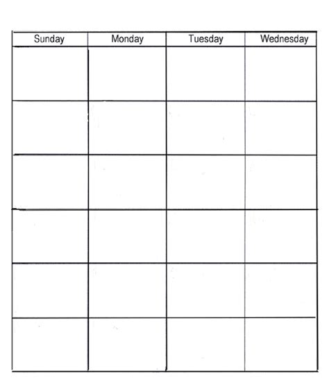 sunday calendar template monday thru sunday calendars calendar template 2016