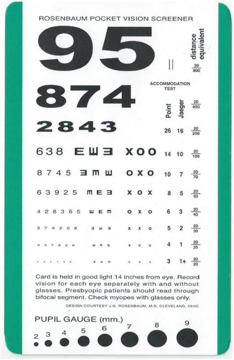 free printable pocket eye chart printable near vision test card book covers