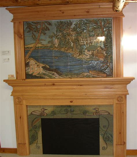 pine fireplace mantel pine mantel with tile murals rustic indoor fireplaces