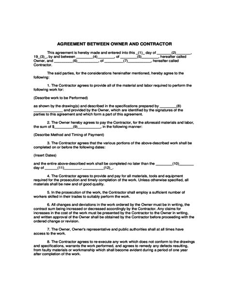 agreement between owner and contractor template agreement between owner and contractor free