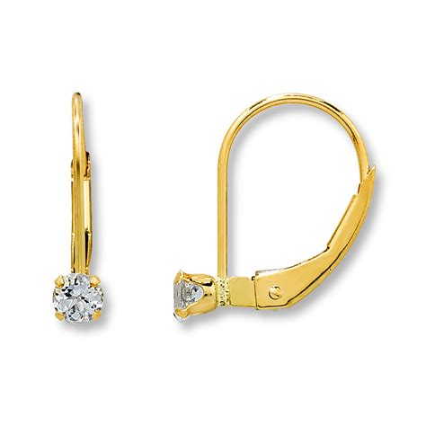 jared baby hoop earrings white topaz 14k yellow gold