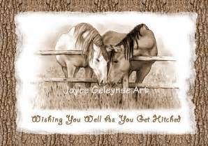 western wedding congratulations two horses nuzzling you print