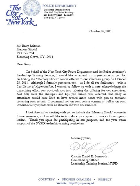 Barry Acceptance Letter Nypd Lectures Powerful Memory Secrets