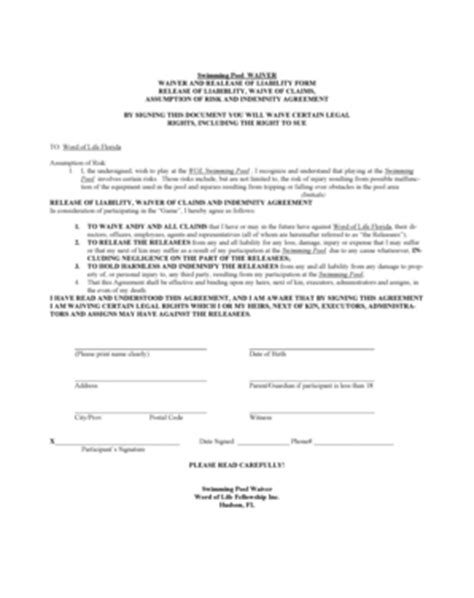 Liability For Fill Online Printable Fillable Blank Pdffiller Swimming Pool Waiver Template