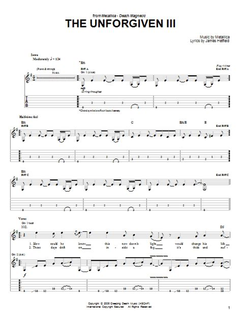 nothing else matters tabulatura the unforgiven iii by metallica easy guitar tab guitar