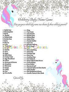 what is your celebrity name celebrity baby names baby shower game cute unicorn silver