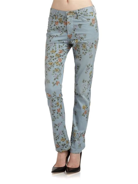 printed jeans denim trends for fall 2013 shop citizens of humanity floral print high waist roll up jeans