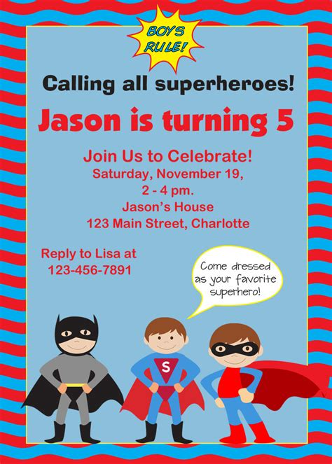 fearsome superhero birthday party invitations trends