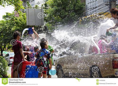 thai new year water festival songkarn thai new year water festival editorial stock