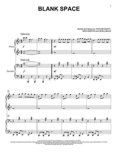 tutorial piano blank space blank space sheet music by taylor swift piano duet 158888
