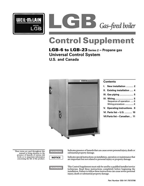 Weil-McLain SERIES 2 LGB-7 User Manual   11 pages   Also