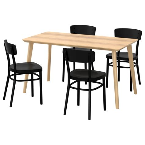 idolf lisabo table and 4 chairs ash veneer black 140x78 cm