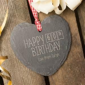 engraved heart shaped slate hanging keepsake happy 60th