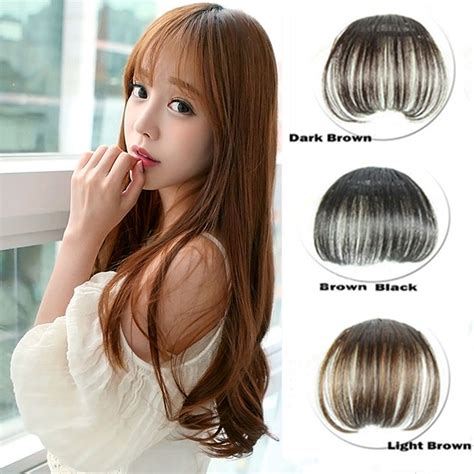fake bangs clip for thin hair 1x korean thin hair extension false hair piece hair clip
