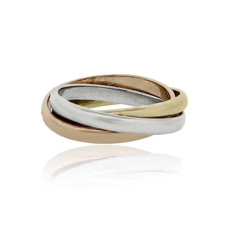 tri color gold ring 18k tri color gold rolling ring style wedding band ring