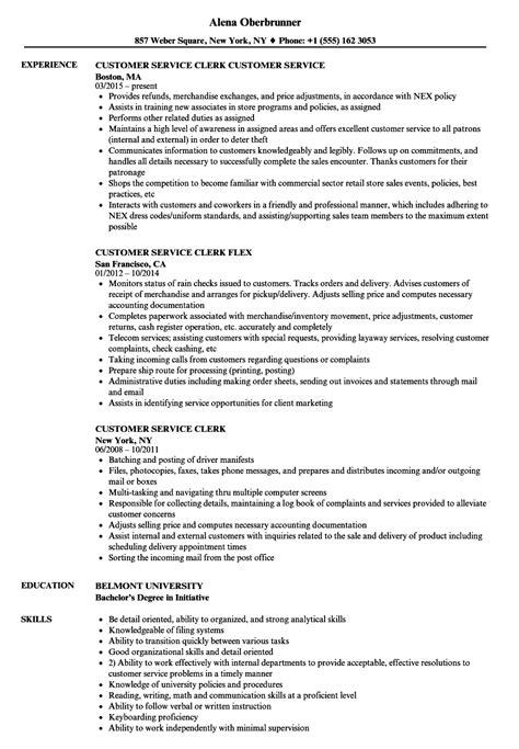 service clerk sample resume customer service clerk resume samples velvet jobs