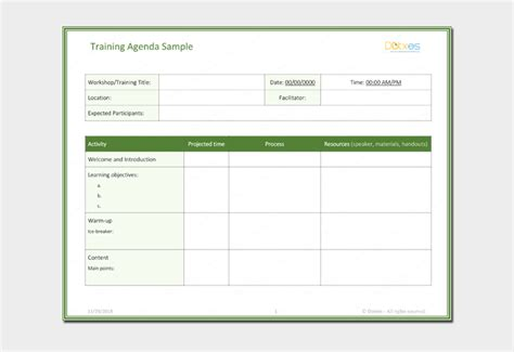 agenda outline template   word excel  format