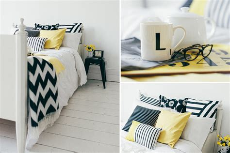 Black White And Yellow Bedroom | yellow bedroom decor