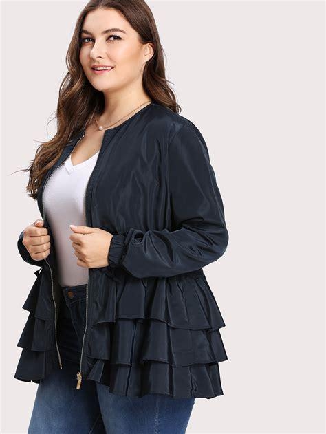 Belgica U Layer Parka tiered layer ruffle jacket shein sheinside