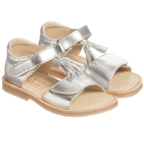 girls sandals c young soles girls silver leather sandals childrensalon