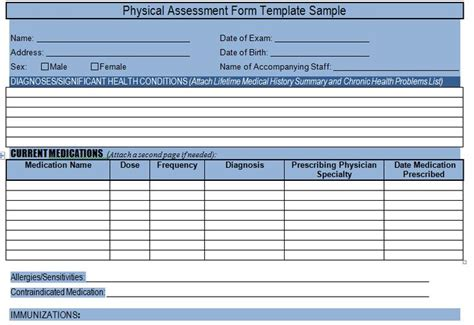 get physical assessment form template sle project