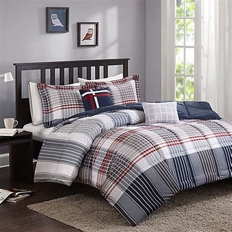 cozy soft 174 caleb comforter set in grey navy red bed bath