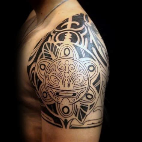 tribal quarter mens sleeve taino tattoo of sun ink